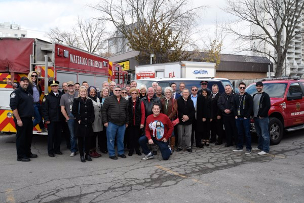2017 official kick-off of Toy drive, crowd of supporters and firetruck