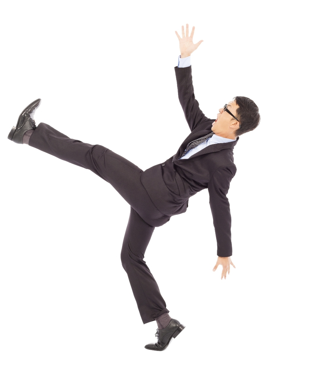man in suit falling